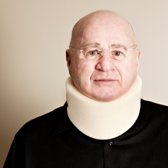 Senior with neck brace